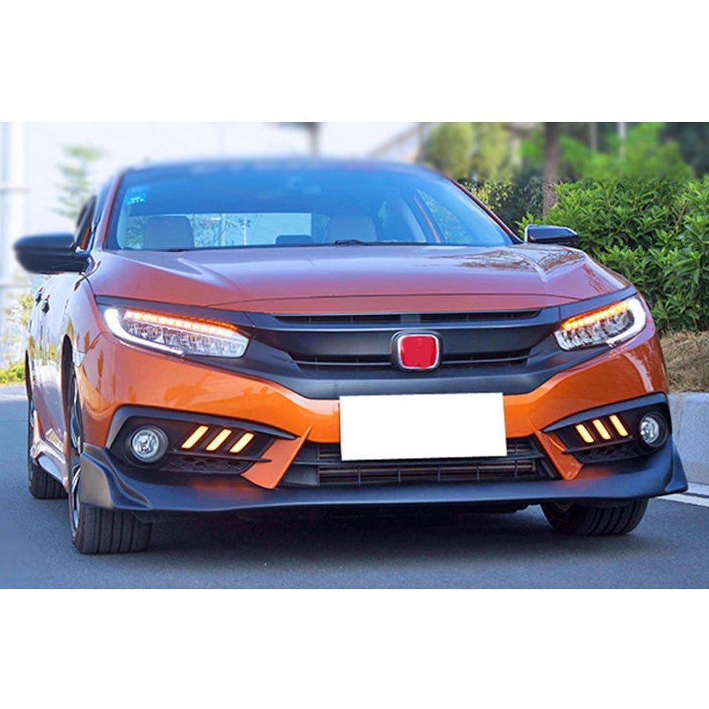 Front Bumper Lip Spoiler Fits 2016-2018 Honda Civic 2017 JS Style Black PU Lip Spoiler Bodykit Splitter Diffuser Air Dam Chin Diffuser by IKON MOTORSPORTS