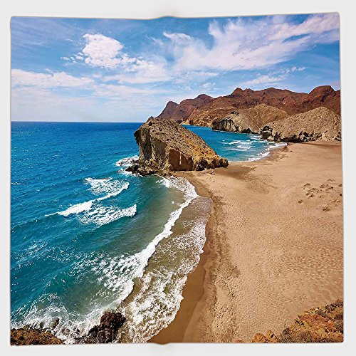Cotton Microfiber Hand Towel,Landscape,Ocean View Tranquil Beach Cabo De Gata Spain Coastal Photo Scenic Summer Scenery,Blue Brown,for Kids, Teens, and Adults,One Side Printing by iPrint