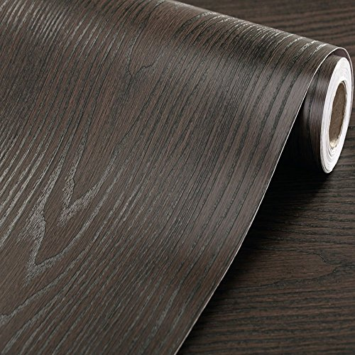 Faux Wood Grain Contact Paper Self Adhesive Vinyl Shelf Liner Covering for Kitchen Countertop Cabinets Drawer Furniture Wall Decal (23.4''Wx117''L,Black-Brown sandalwood) by F&U