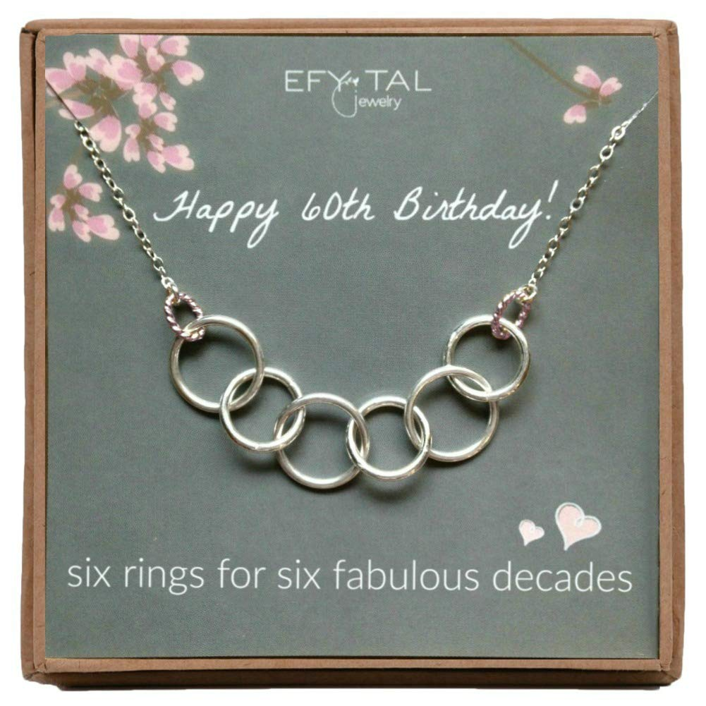 Efy Tal Jewelry Happy 60th Birthday Gifts for Women Necklace, Sterling Silver 6 Rings six Decades Necklaces Gift Ideas