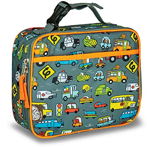 LONECONE Kids' Insulated Fabric Lunchbox - Cute Patterns for Boys and Girls, Fast Food (Cars), Standard with Buckle