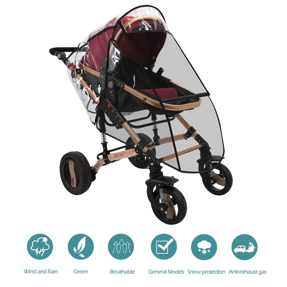 Gris Protector de Lluvia para Beb/és para Cremallera EVA Transparente y a Prueba de Viento a Prueba de Agua Polvo de Nieve Funda de Lluvia Universal,Cubierta de lluvia cochecito