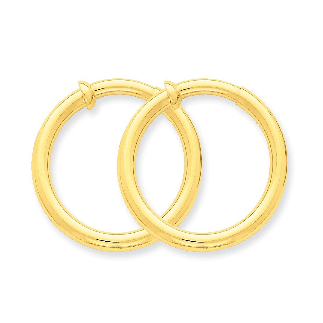 ICE CARATS 14k Yellow Gold Non Pierced Clip On Hoop Earrings Ear Hoops Set Fine Jewelry Ideal Mothers Day Gifts For Mom Women Gift Set From Heart