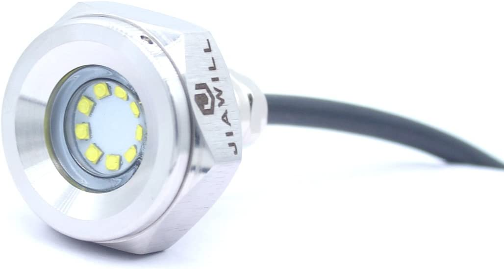 jiawill 316L Stainless Steel Underwater 1//2 NPT 9 to 30V 27w Boat Drain Plug Light with Internal Driver and Overheat Protection 3 Years Warranty