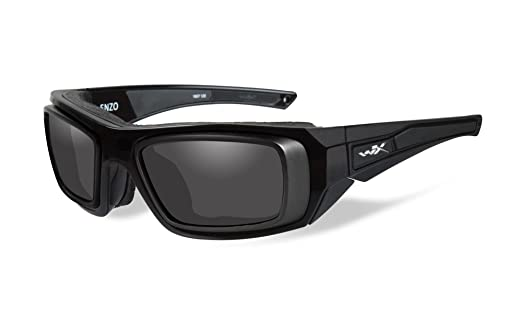 f49879111c Amazon.com  Wiley X Sunglasses Enzo in Gloss Black w  Rx Rim Frame   Smoke  Grey Lens  Clothing