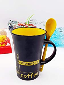 SS Ecom Black & Yellow Colored Printed Cup Ceramic Coffee Tea Milk Soup Cup with Ceramic Spoon, Beverage Mug and Spoon Set, Use for Home Office Traveling
