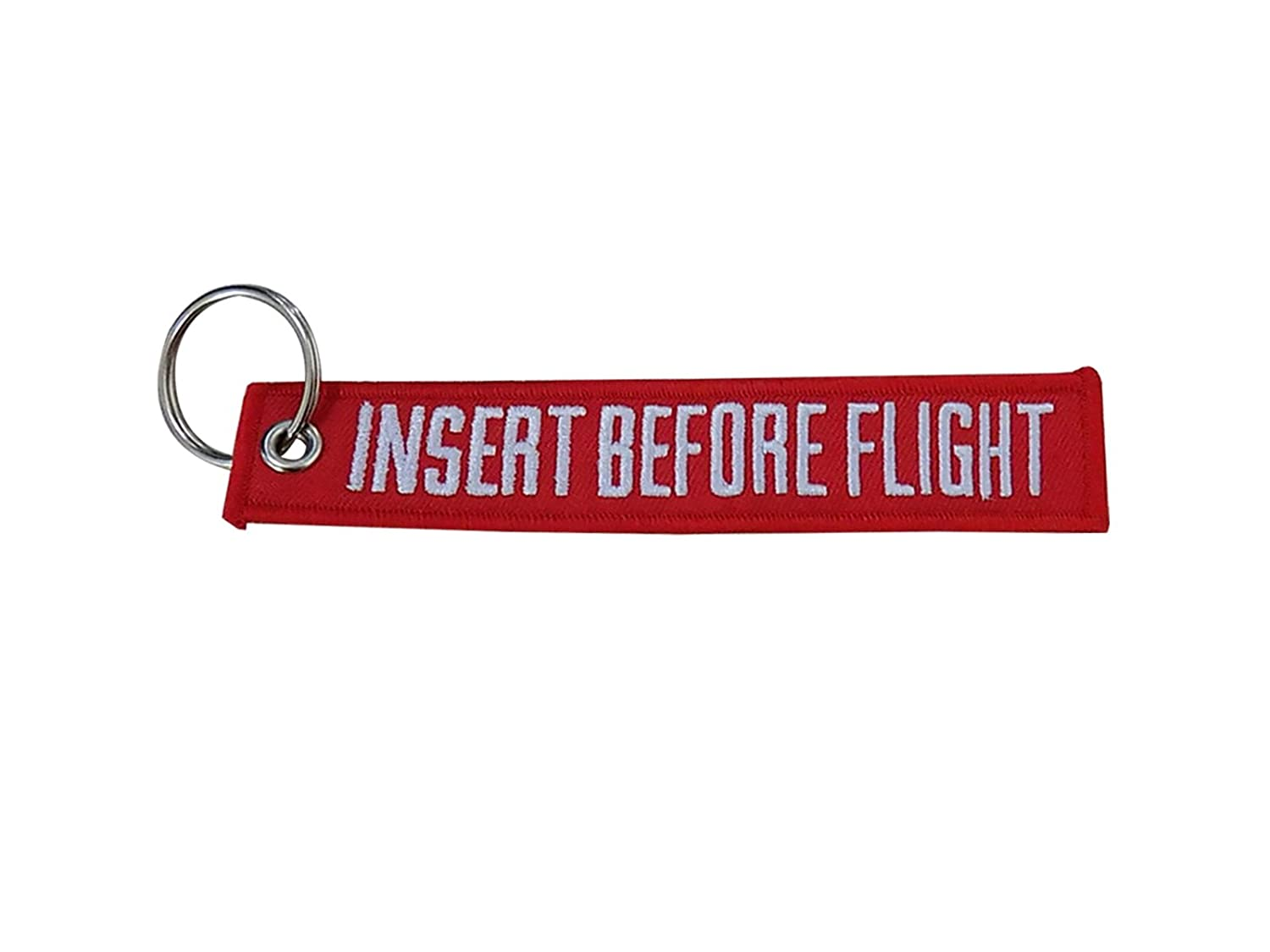 Keychain Embroidered Key Chain for Motorcycles Scooters Cars and Gifts Sportbike Bags Backbags INSERT BEFORE FLIGHT (RED) YJS
