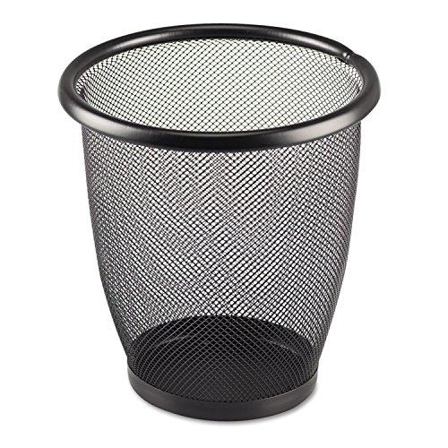 Safco 9716BL Onyx Round Mesh Wastebasket Steel Mesh 3qt - Mesh Round Wastebasket Onyx