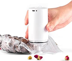MINI Handheld Food Saver Vacuum Sealer Machine Portable USB Rechargeable Vacuum Sealing System Storage Saver with 10pcs Vacuum Sealer Bags for Kitchen and Home Use