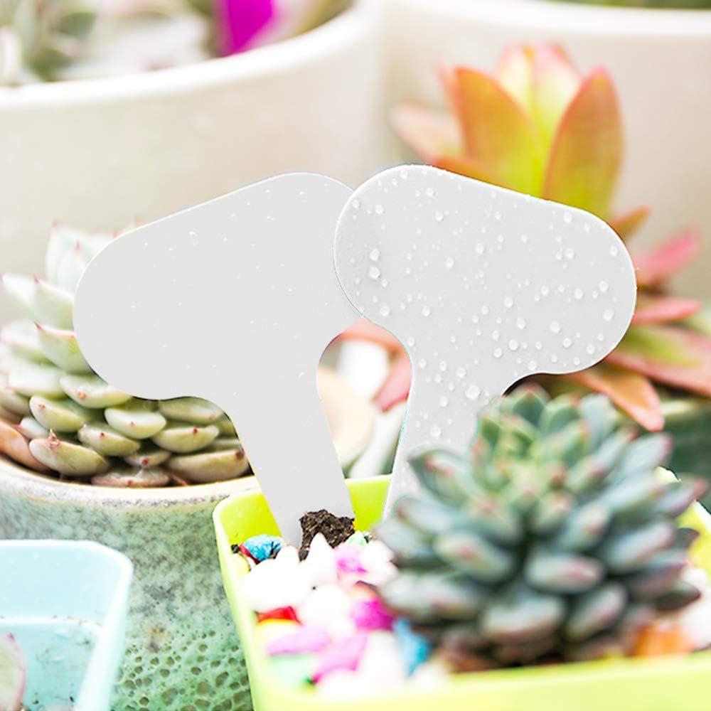 Rlock 100Pcs Plant Markers Garden Label Waterproof Reusable Pot Plant Markers Nursery Plant T-Type Plastic White