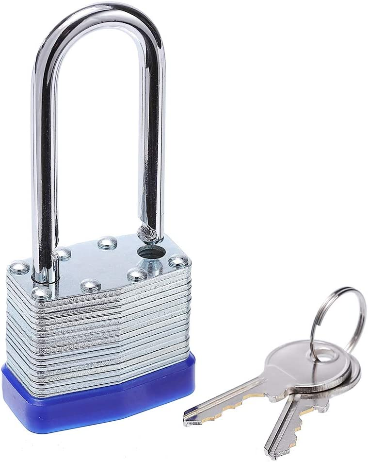 High Security Lock Heavy Duty Covered Laminated Steel Keyed Padlock Waterproof Padlock for Outdoor use Sturdy Lock Keyed Different 2.5 inch Wide Body,1.37-Pound Lock with Key
