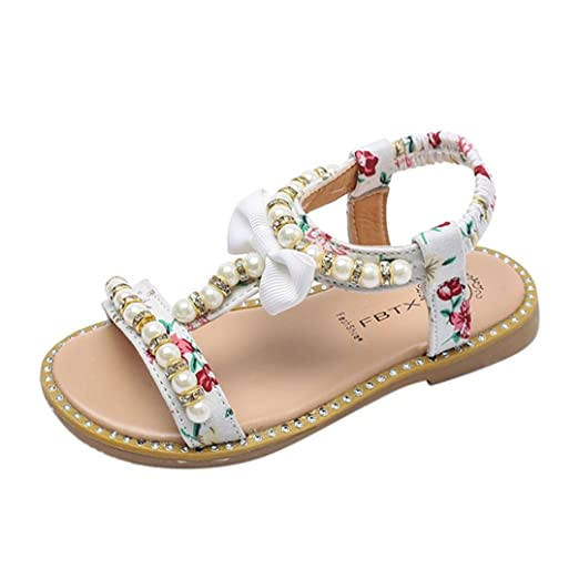 Botrong Kids Baby Girls Sandals Bowknot Pearl Crystal Roman Sandals  Princess Shoes (1 Year Old 395292674382