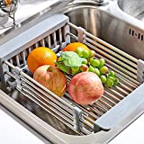 Adjustable arms holder utensil draine Kitchen Drain rack Drain basket Tableware Drain rack Stainless steel Sink rack Drying rack-A