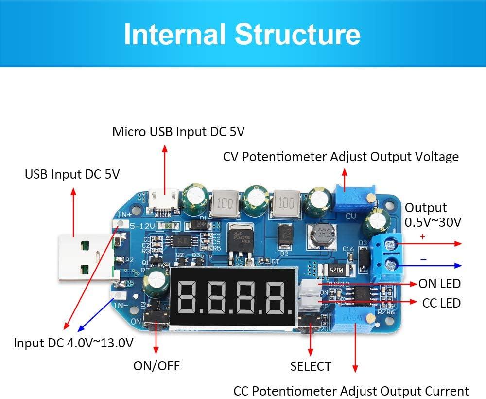 PEMENOL DC-DC LCD DC USB Step Up//Down Stromversorgungsmodul