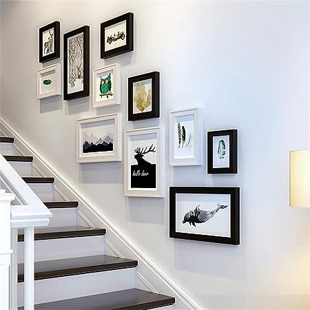 XiYunHan - Marco de Fotos para Pared, diseño de escaleras de Madera Maciza en Color Negro y Blanco: Amazon.es: Hogar