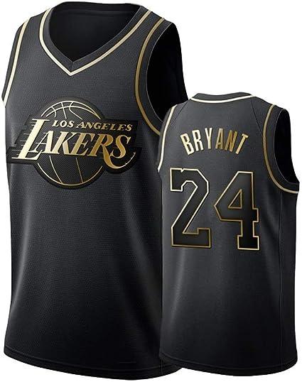 DCE Jersey de Hombre Kobe Bryant NO. 24 Los Angeles Lakers Camisetas de Verano Uniforme de Baloncesto Bordado Tops Camisetas de Traje de Baloncesto Oro Negro Jersey (Nero & Oro, L(50)): Amazon.es: