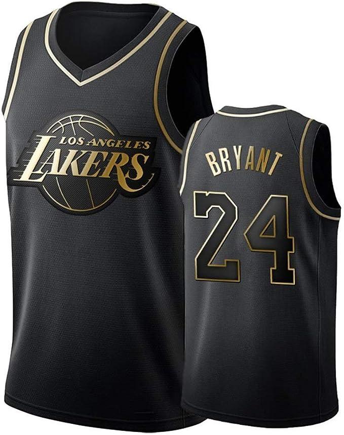 DCE Jersey de Hombre Kobe Bryant NO. 24 Los Angeles Lakers Camisetas de Verano Uniforme de Baloncesto Bordado Tops Camisetas de Traje de Baloncesto Oro Negro Jersey (Nero & Oro, M(48)): Amazon.es: