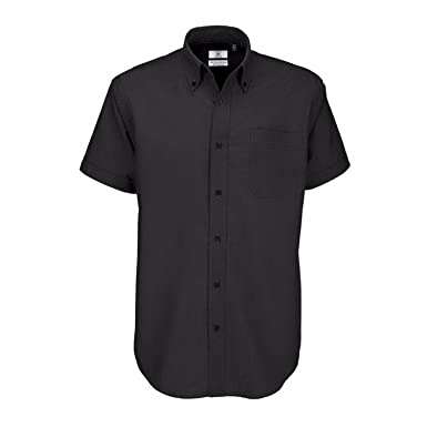 B&C Mens Oxford Short Sleeve Shirt / Mens Shirts: Amazon.co.uk ...