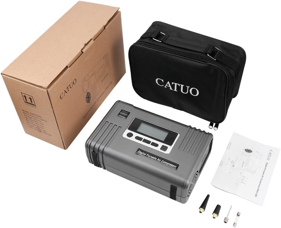 CAUTO Air Compressor Pump 50L//min Fast Inflate Pump to 100 Psi. 12V DC Portable Tyre Inflator Auto Cut off With LED Light /& Battery Clamp /& Carry Bag