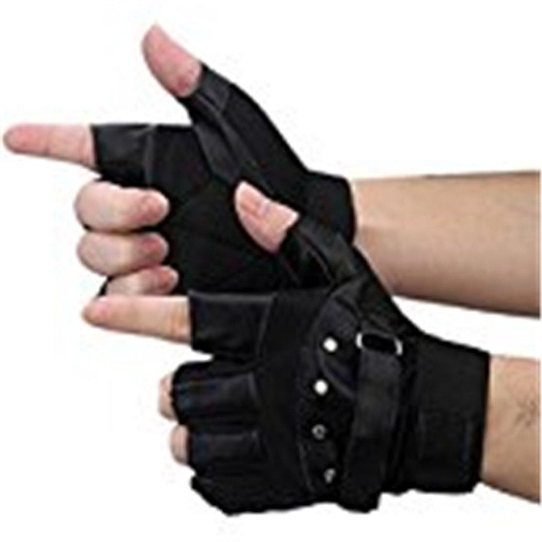 Men's Sports Leather Gloves,Hemlock Soft Driving Motorcycle Biker Fingerless Warm Gloves (Black)