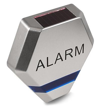 Maclean - Sirena de Alarma Falsa simulada diodos led Intermitentes Panel Solar vigilancia
