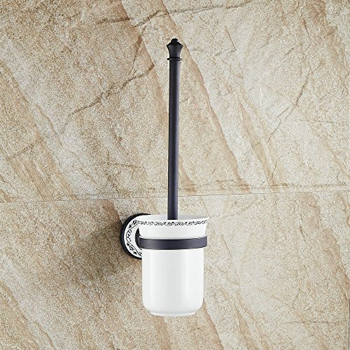 Hiendure Brass Bathroom Toilet Brush with Holder Wall Mount, Oil Rubbed Bronze