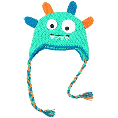 Kafeimali Children s Baby Winter Caps Crochet Earflap Beanie Knit Cartoon  Big Eyes Devil Hats e566d6d41dbb