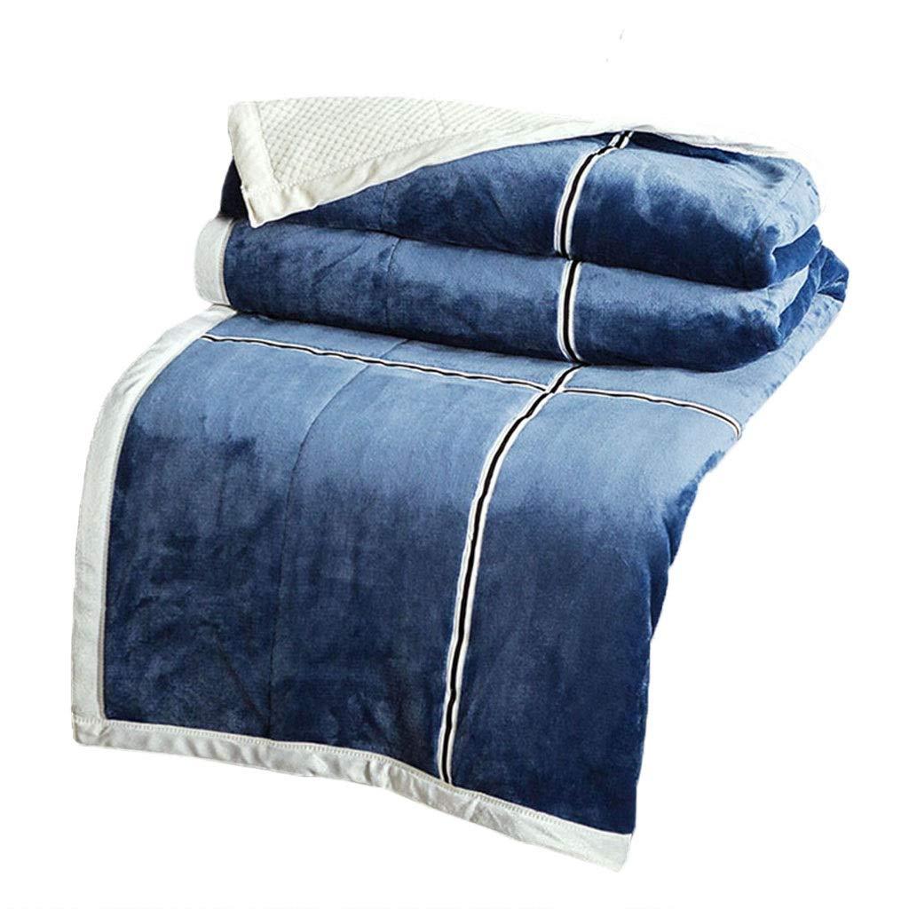 MT-KIRST TV Decke, Coral Velvet Dicke Warme Doppelseitige Design Kein Verblassen Leicht Zu Reinigen Verwendet for Sofa Sessel Bedspread Sofa-Abdeckung (Color : Blau, Size : 2x2.3m)