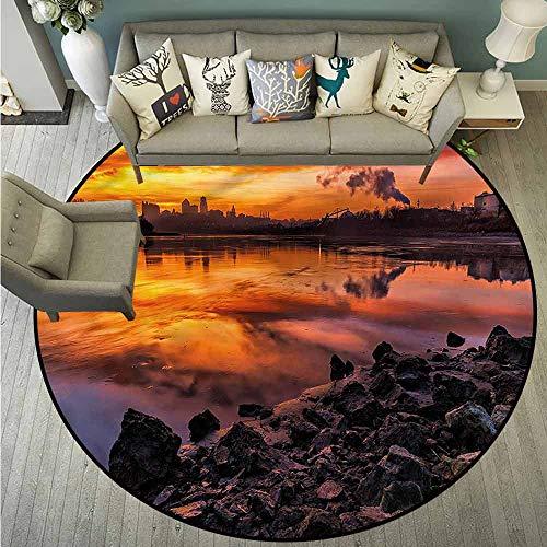 Round Carpets,Landscape,Kansas City Scenery,Rustic Home Decor,3'7