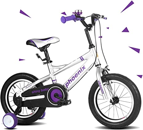 XiangYu Bicicleta para Niños, Material de Aleación de Magnesio, Sistema de Freno de Disco Doble, Manillar y Silla de Montar Ajustables + Rueda Auxiliar Antideslizante Silver-14inch: Amazon.es: Deportes y aire libre