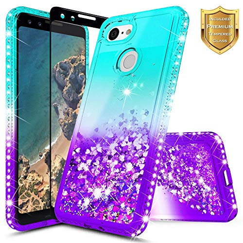 Google Pixel Case, NageBee Glitter Liquid Quicksand Waterfall Floating Flowing Sparkle Shiny Bling Diamond Girls Cute Case w/[Tempered Glass Screen Protector] for Google Pixel (2016) -Aqua/Purple