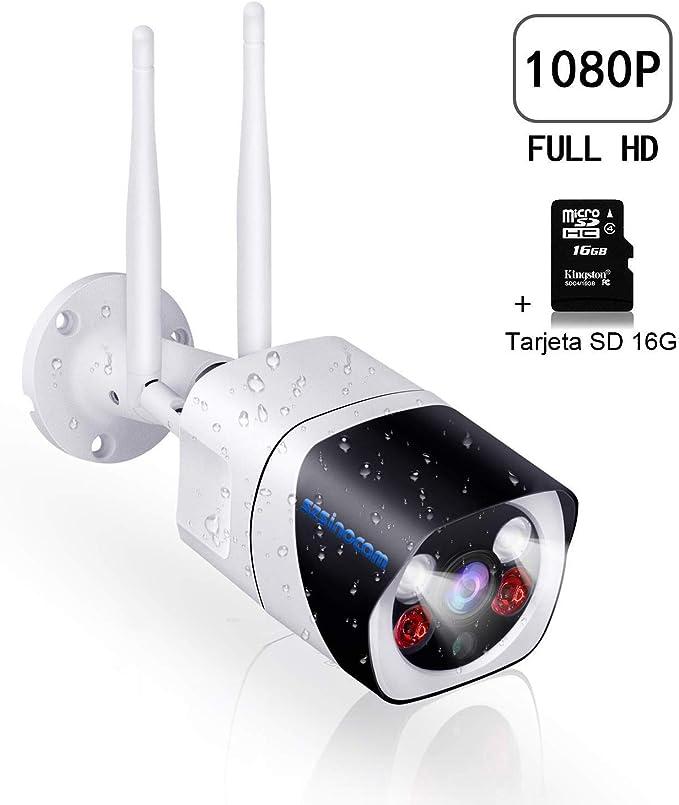 SZSINOCAM Cámara Vigilancia Exterior WiFi,1080P Camaras de Vigilancia con Visión Nocturna,Cámaras IP CCTV Impermeable IP66, Detección de ...
