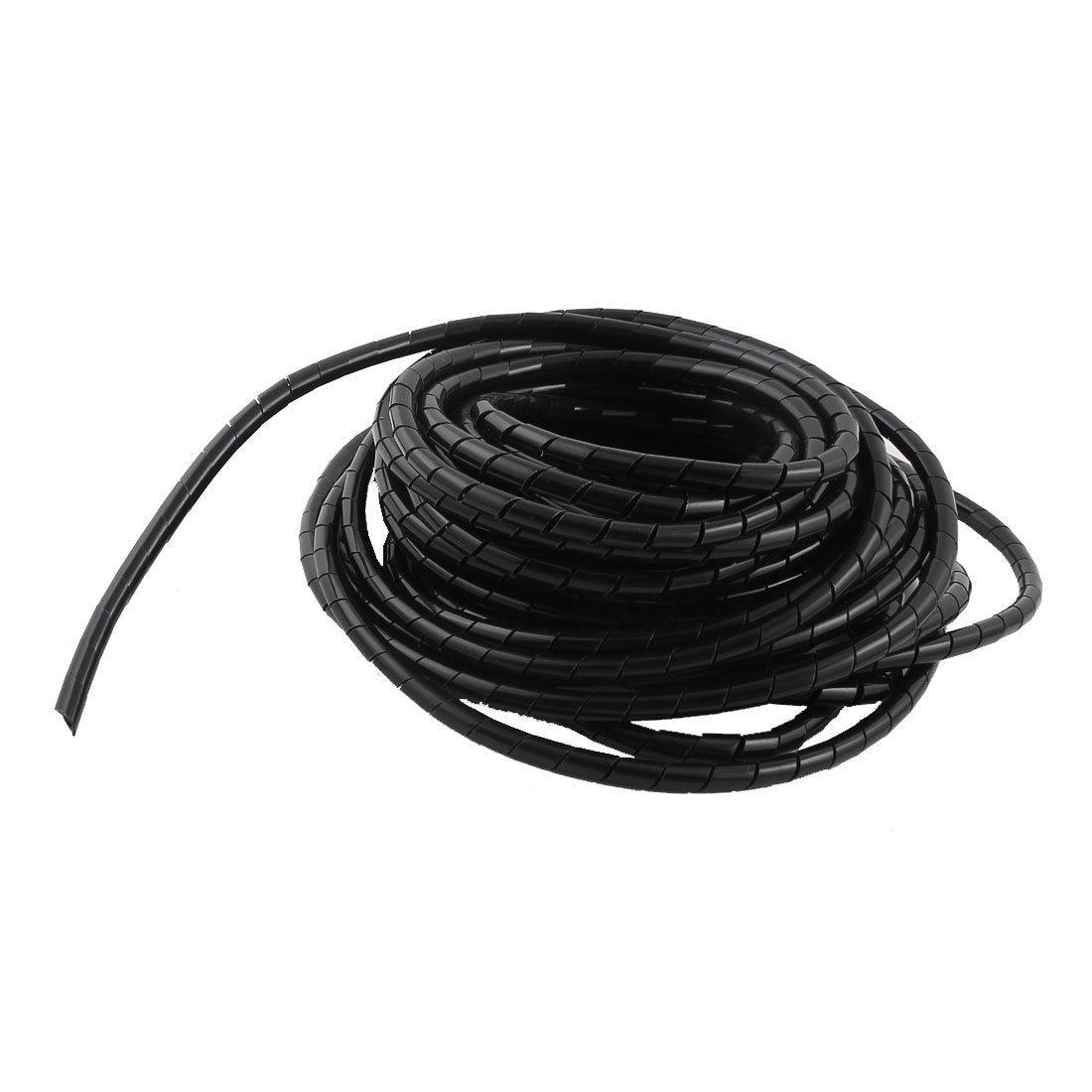 sourcingmap Polyéthylène Noir Enveloppe En Spirale Bande 6mm Gestionnaire De Câble 20m a14111200ux0503