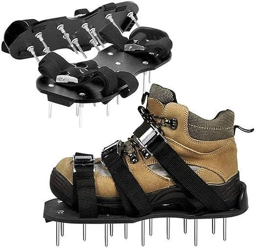 ddmlj Zapatos De Aireador De Césped De Jardín Sandalia Espiga De Aireación Par De Hierba Herramienta con Pinchos Verdes Zapatos De Tierra Suelta Negro 30X13 Cm: Amazon.es: Jardín