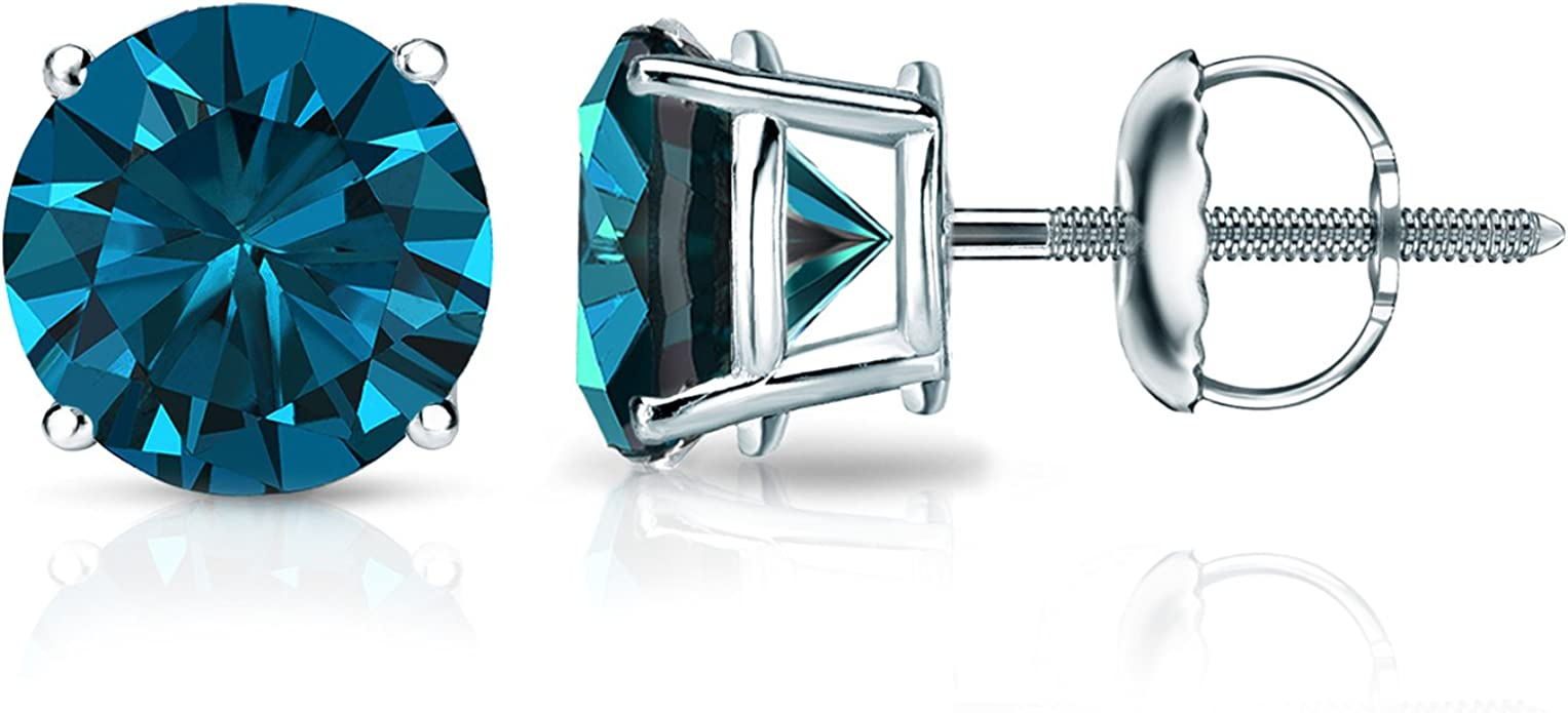 15 Carat Premium Blue Diamond Solitaire Screw Back Stud Earrings Pair in 14k White or Yellow Gold
