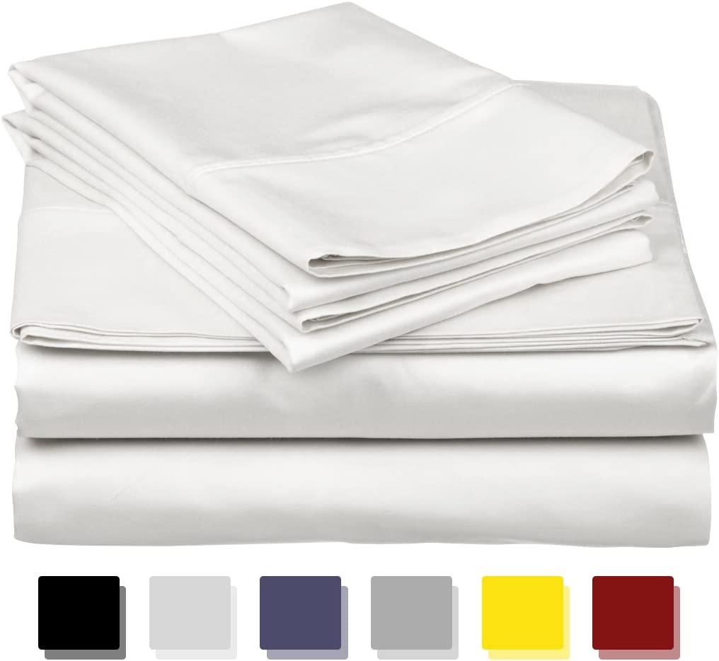 600-Thread-Count Best 100% Egyptian Cotton Sheets & Pillowcases Set - 4 Pc White Long-Staple Combed Cotton Bedding Queen Sheet for Bed, Fits Mattress Upto 18'' Deep Pocket, Soft & Silky Sateen Weave