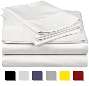 True Luxury 1000-Thread-Count 100% Egyptian Cotton Bed Sheets, 4-Pc King White Sheet Set, Single Ply Long-Staple Yarns, Sateen Weave, Fits Mattress Upto 18'' Deep Pocket