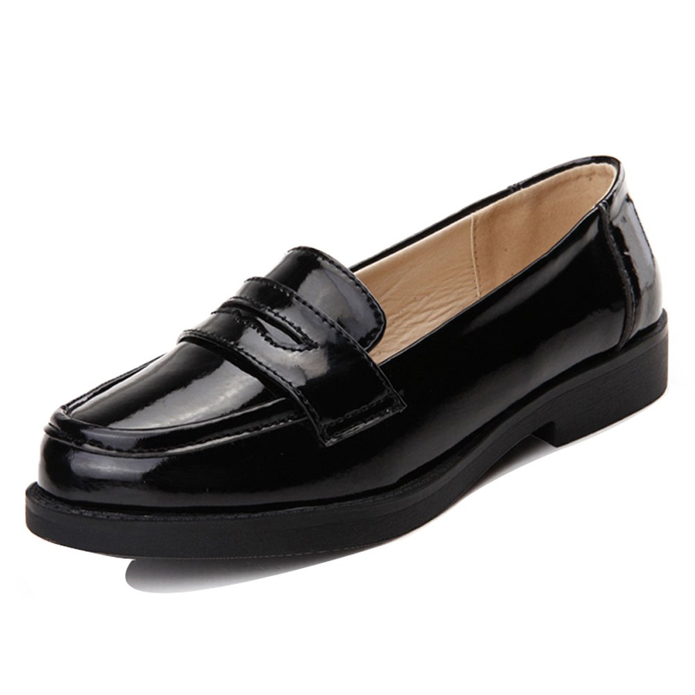 HKR-FGA8016heise40 Women Patent Leather Penny Loafers Comfort Slip On Flat Dress Shoes Black 8 B(M) US