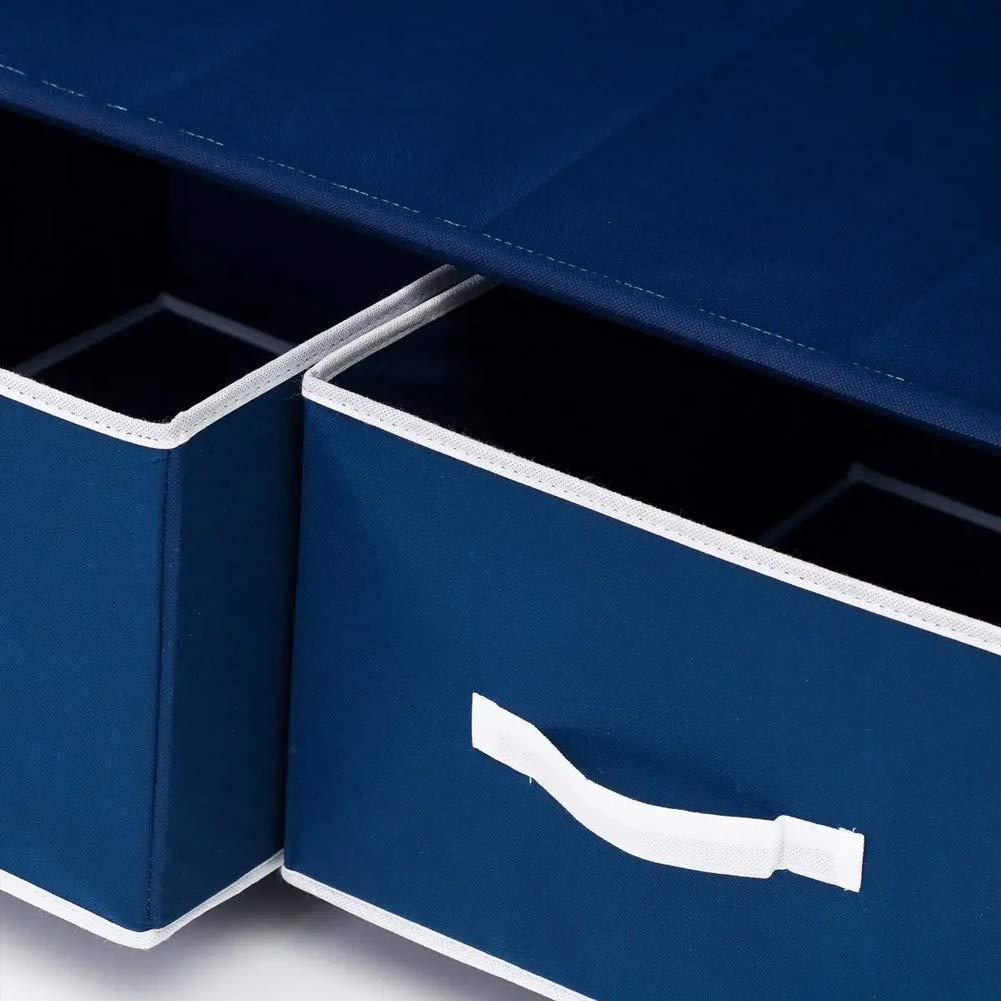 BAKAJI Home Armadio Guardaroba con Struttura Tubolare in Metallo Rivestimento in Tessuto TNT Zip di Chiusura Asta Appendiabiti e Cassetti da Campeggio Dimensione 75 x 40 x 160 cm Colore Blu