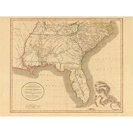 Amazoncom Wee Blue Coo Map Antique 1812 United States America - Us-map-1812