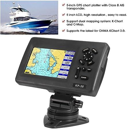 Marine Boat GPS Navigator Plotter de pantalla LCD de 5 pulgadas con transpondedor AIS de clase B: Amazon.es: Coche y moto