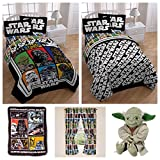 Star Wars Classic Complete Kids Bedding Set w/ Reversible Comforter, Sheets, Plush Blanket, Yoda Pillow & Window Curtains - Twin