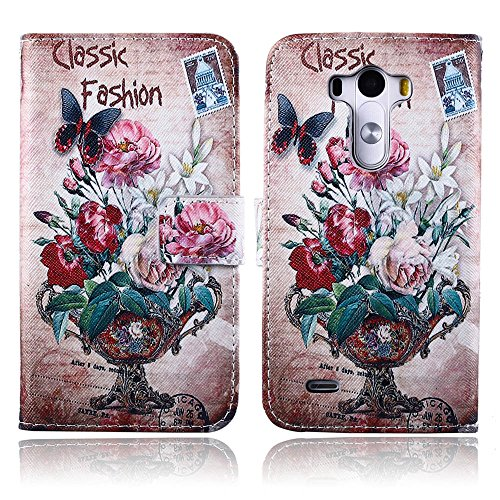 MOTO G Case, MOTO G (1st Gen) Wallet Case, TOMYOU Stylish Patterned Flower Flip Premium PU Leather Soft TPU Rubber Silicone Wallet Cover with Card Slots and Kickstand for Motorola MOTO G (1st Gen) 2013(Classic Vase) (Vase Patterned)