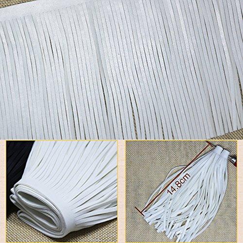 (YOUMU 1m PU Faux Leather Garment Tassel Fringing Fringe Trim DIY Skirt Dress Hem Sewing Bag Charm,3 Yards )
