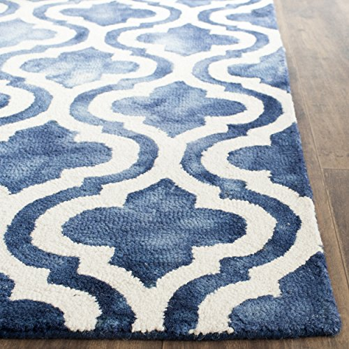 - Safavieh Dip Dye Collection DDY537N Handmade Geometric Moroccan Watercolor Navy and Ivory Wool Area Rug (2'6