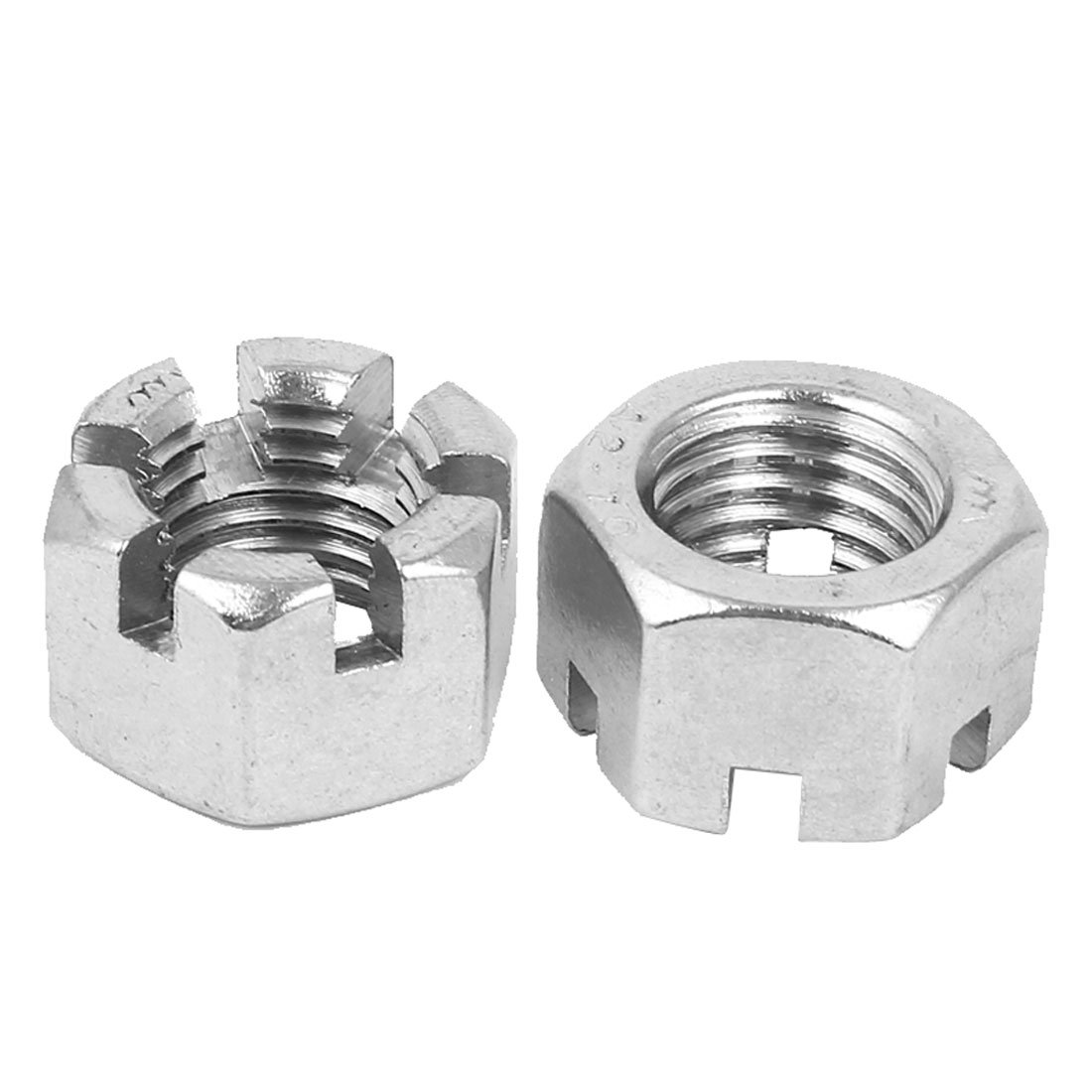 Pack of 2 uxcell M14 x 2mm Pitch 304 Stainless Steel Slotted Hex Nuts