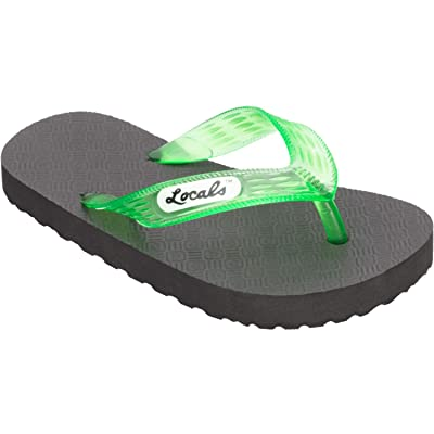 "Locals Original Slippa 8.5"" Black/Transparent Green - Sizing: Kids Size US 13.0-1.0 - Flip Flop Slipper Sandals   Sandals"