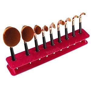 DEESEE(TM) Makeup Brush 9 Hole Microscler Makeup Brush Holder Drying Rack Organizer Cosmetic Shelf Tool (Hot pink)