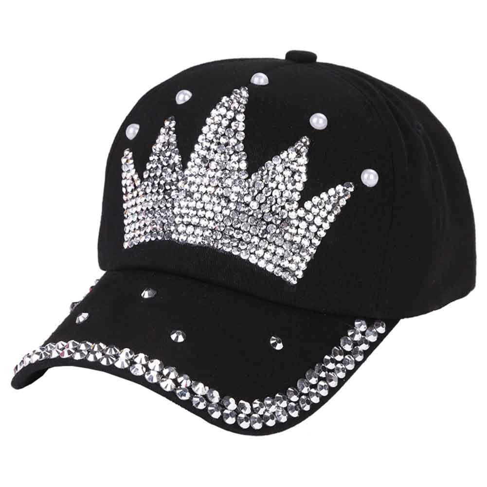 Funbase Children Outdoor Sports Star Shaped Bling Baseball Hiking Cap (Black&Crown)