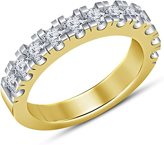 TVS-JEWELS 925 Sterling Silver 14k Gold Plated Mens Band Engagement Ring Round Cut White CZ